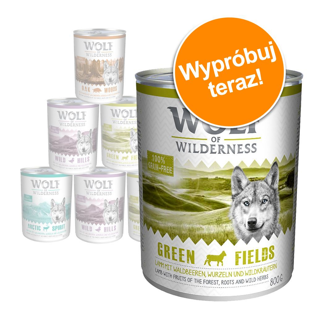 Mieszany pakiet próbny Wolf of Wilderness Adult, 4 smaki - 6 x 400 g