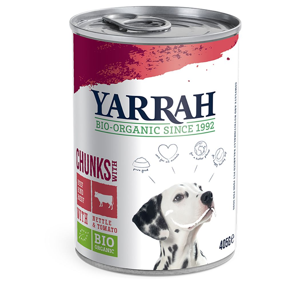 Beef & Chicken Chunks with Tomato & Nettle Yarrah Organic Wet Dog Food