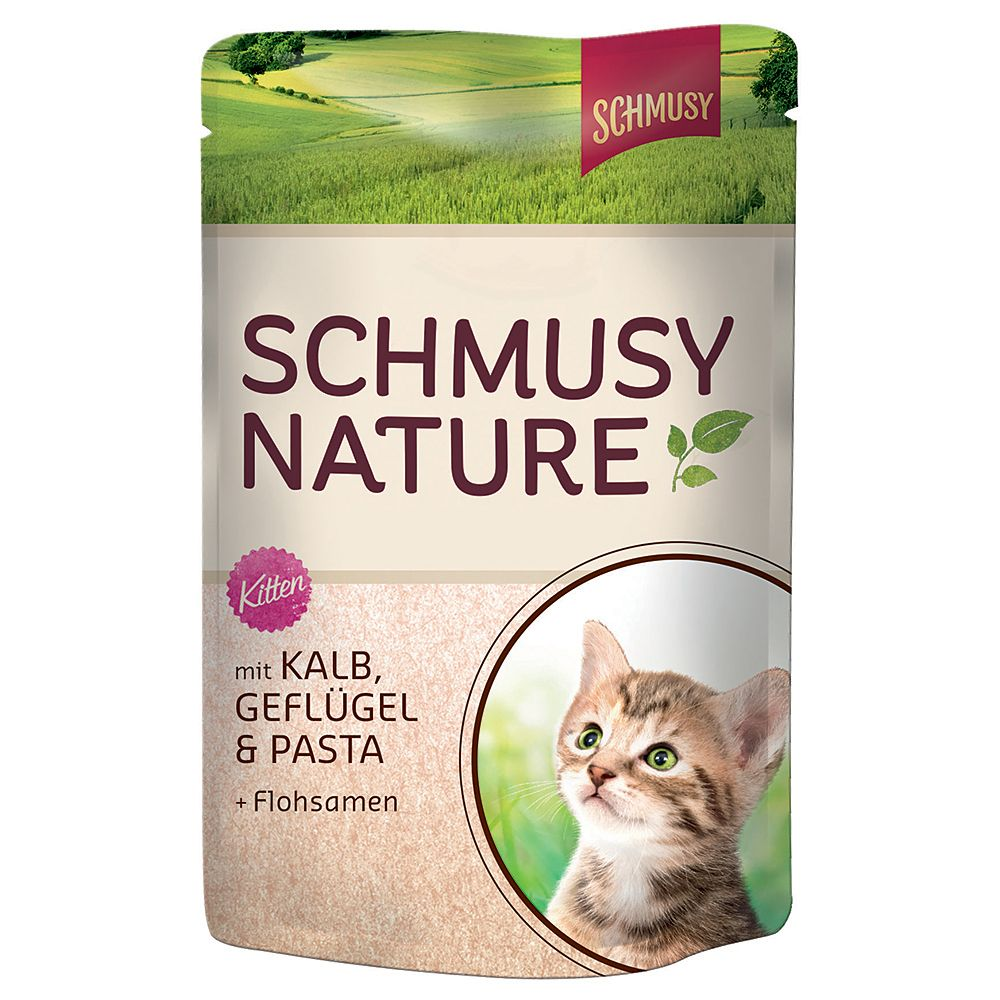 Schmusy Nature Pouches 12 x 100g - Kitten: Veal, Poultry, Pasta & Psyllium