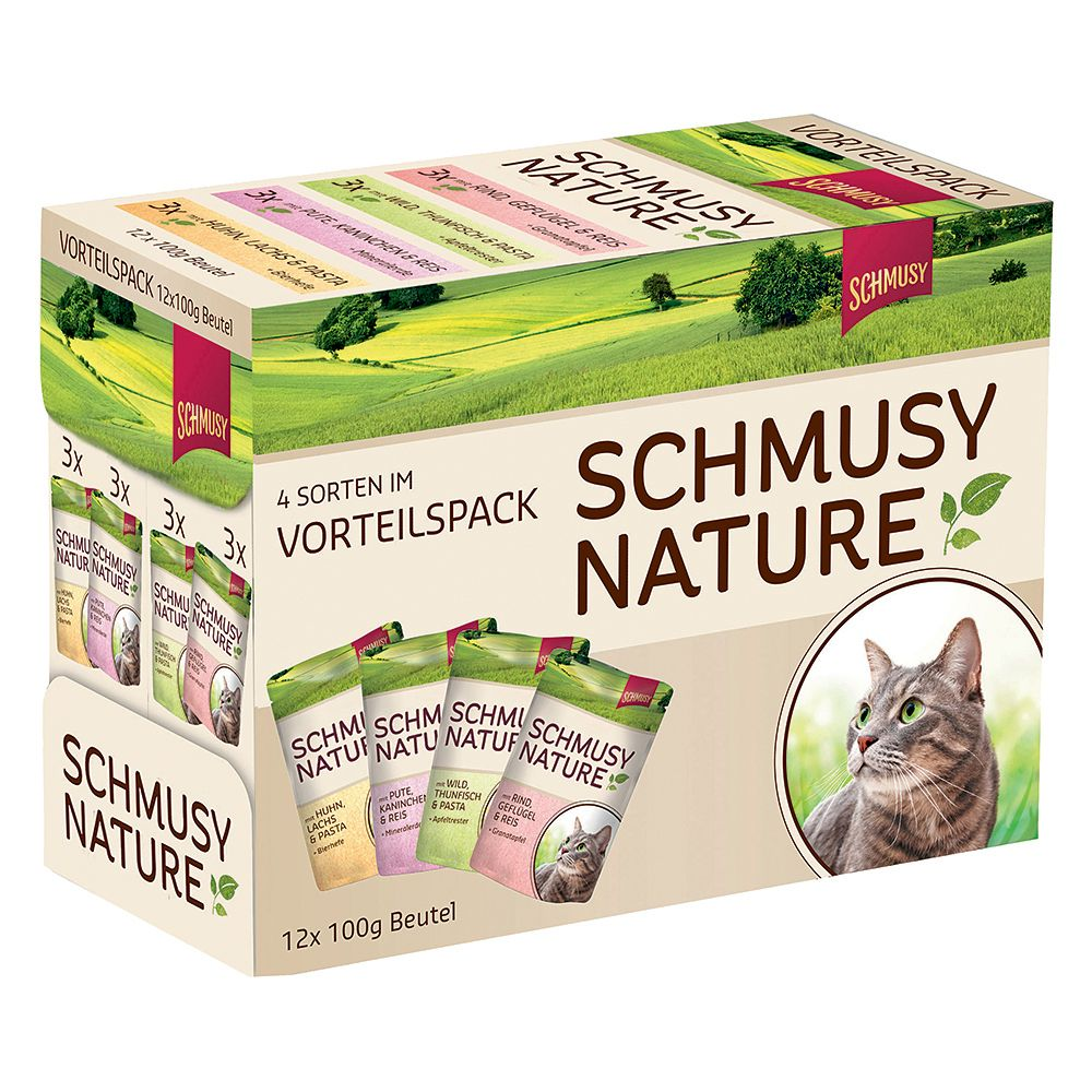 Schmusy Nature Pouches Mixed Trial Pack 12 x 100g - 4 Varieties