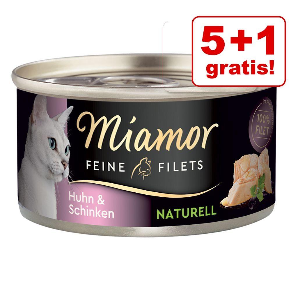 5 + 1 på köpet! 6 x 80 g Miamor Fine Filets Naturelle - Skipjack-tonfisk