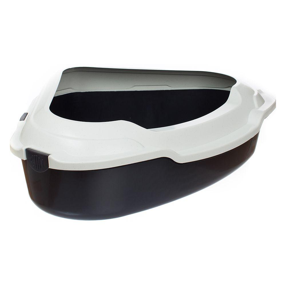 Corner Litter Tray XXL - Anthracite / Stippled Cream