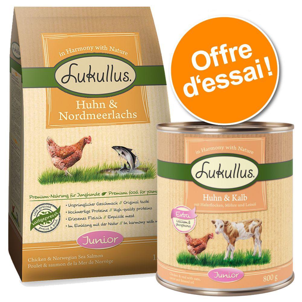 Offre découverte Lukullus spécial chiot - 1,5 kg poulet, saumon + 6 x 400 g volaille, gibier