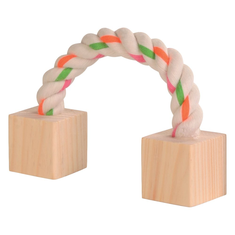 Cotton Play Rope with Wood Blocks - approx 20cm long