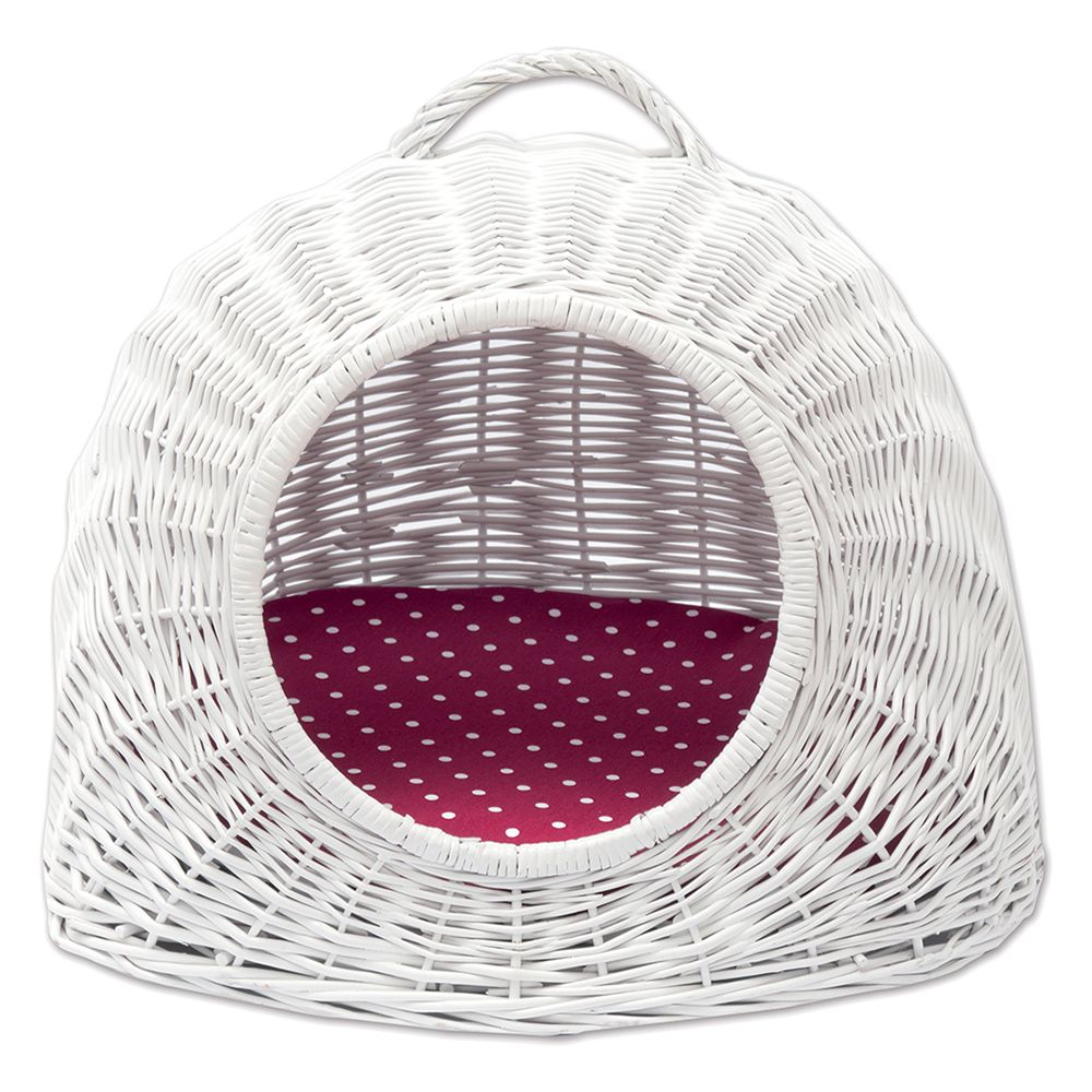 Aumüller White Wicker Den with Reversible Cushion - 50 x 39 x 44 cm (L x W x H)