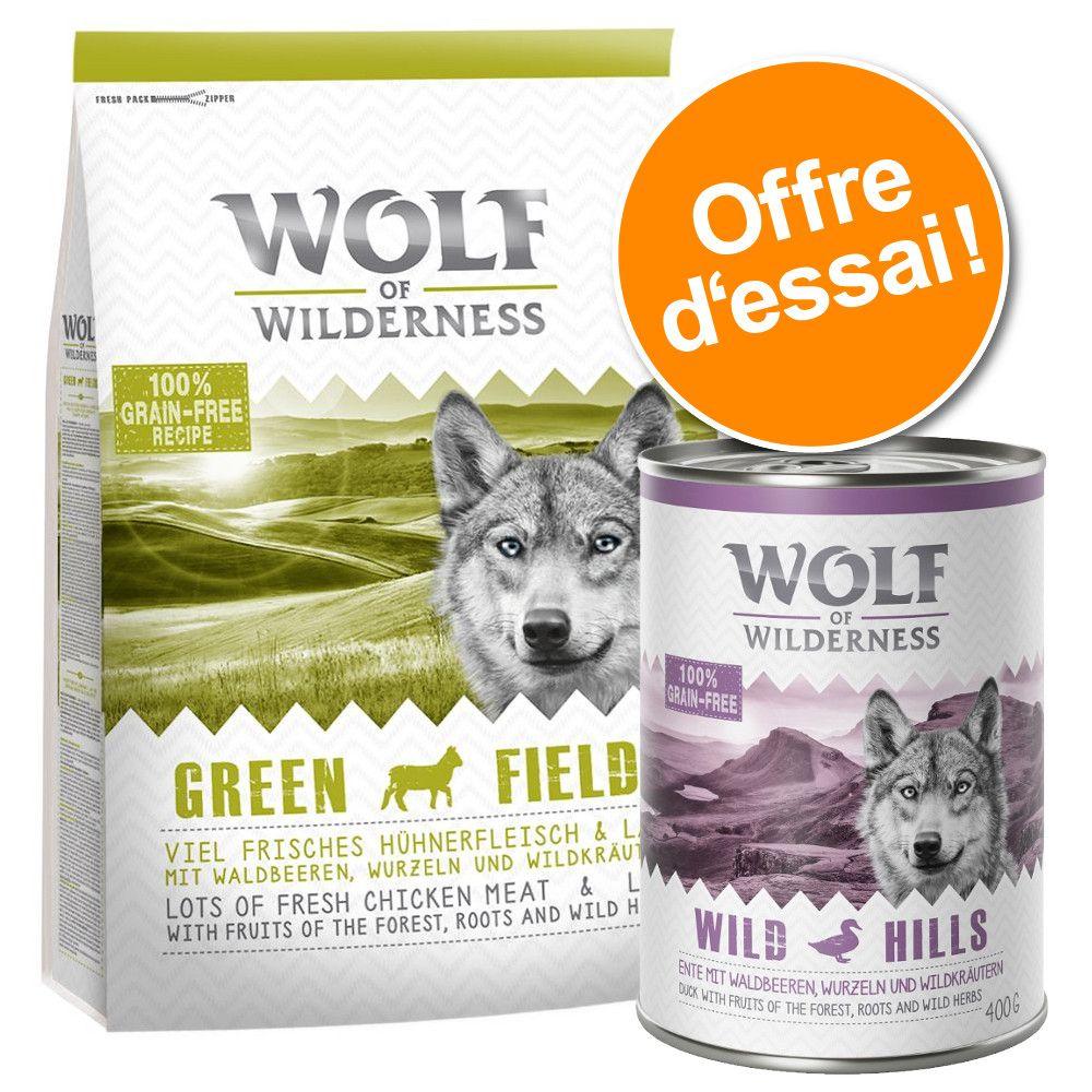 Offre d'essai croquettes + boîtes Wild Hills, canard Wolf of Wilderness - Pâtée pour chien