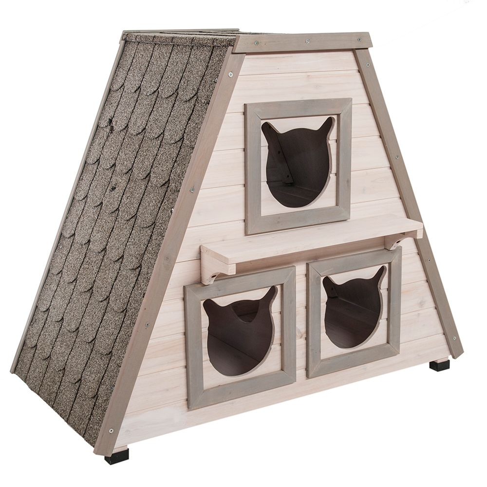 The Madeira cat house is a very unusual wooden cat house and it provides the perfect place for your cat to get away from it all when outside. This robust cat house...