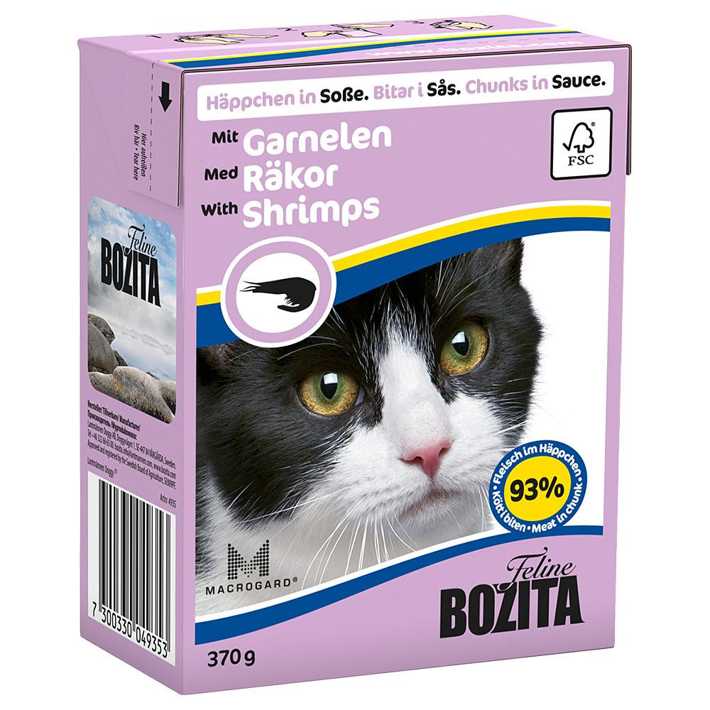 Bozita Chunks in Sauce complete wet cat food is made using premium ingredients such as Swedish beef, pork, chicken and fish and the juicy chunks contain all the nu...