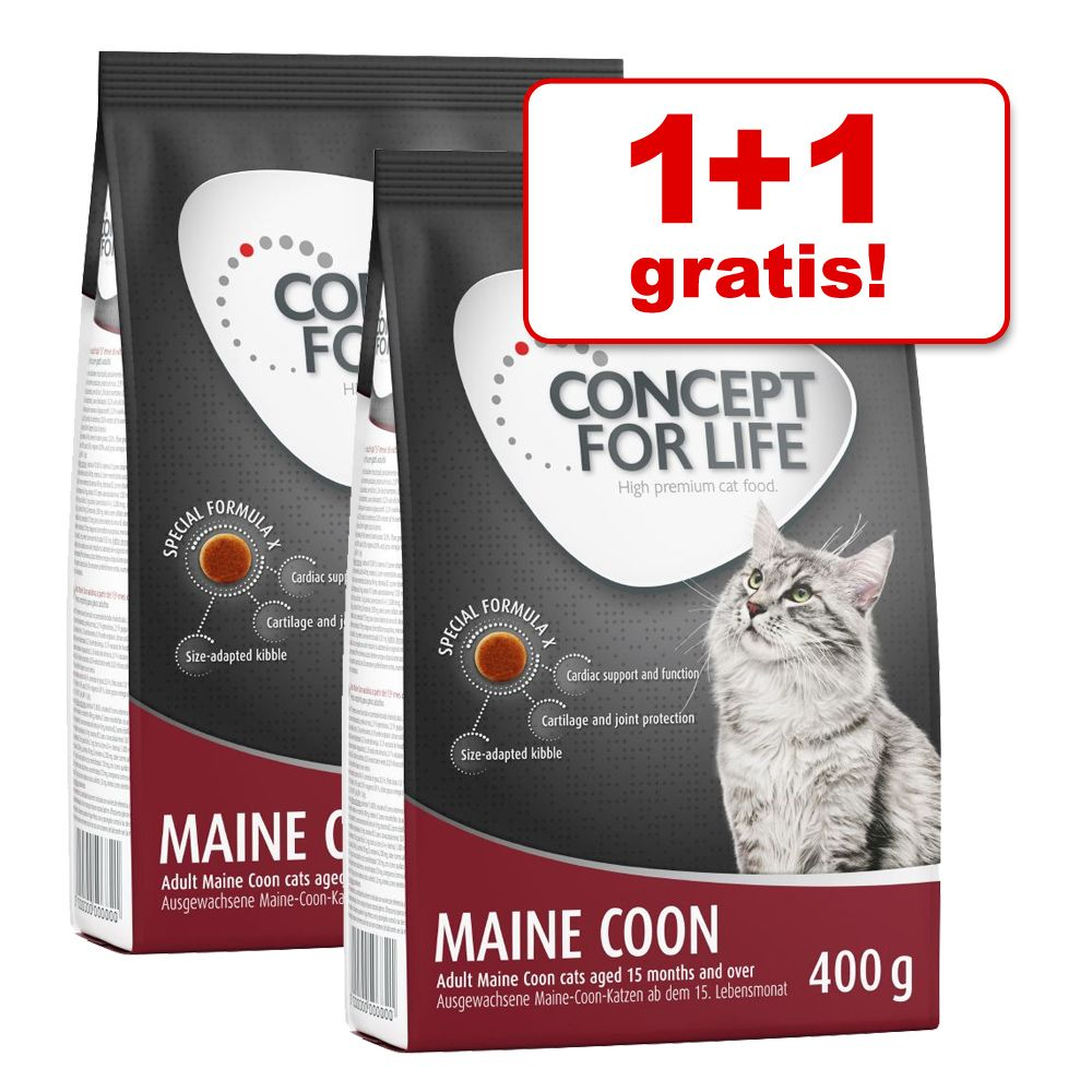 1 + 1 gratis! Concept for Life, 2 x 400 g - Maine Coon Adult