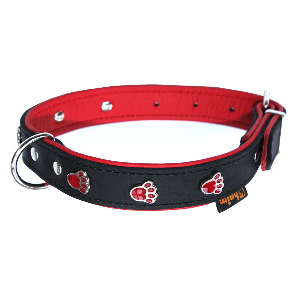 Heim Paw Print Dog Collar - Black & Red - Size 45