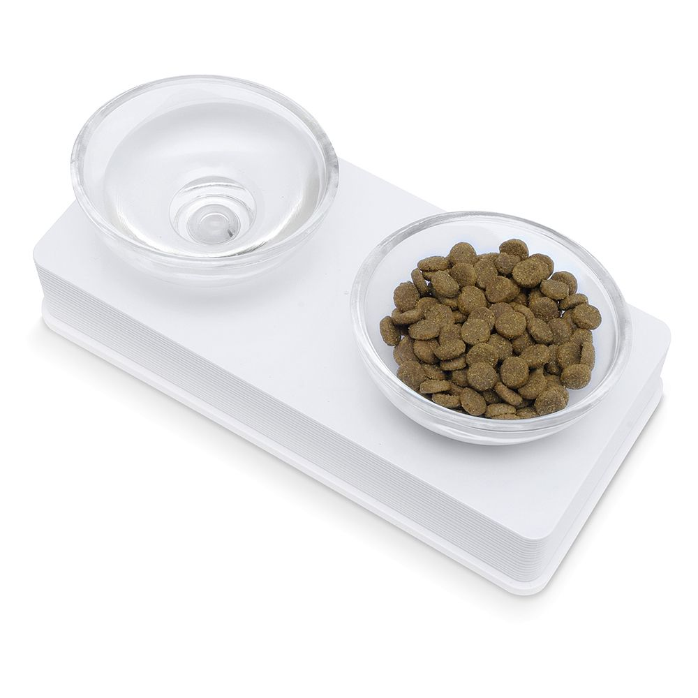 Catit Design Glass Diner Bowls - White - 2 x 0.2 litre