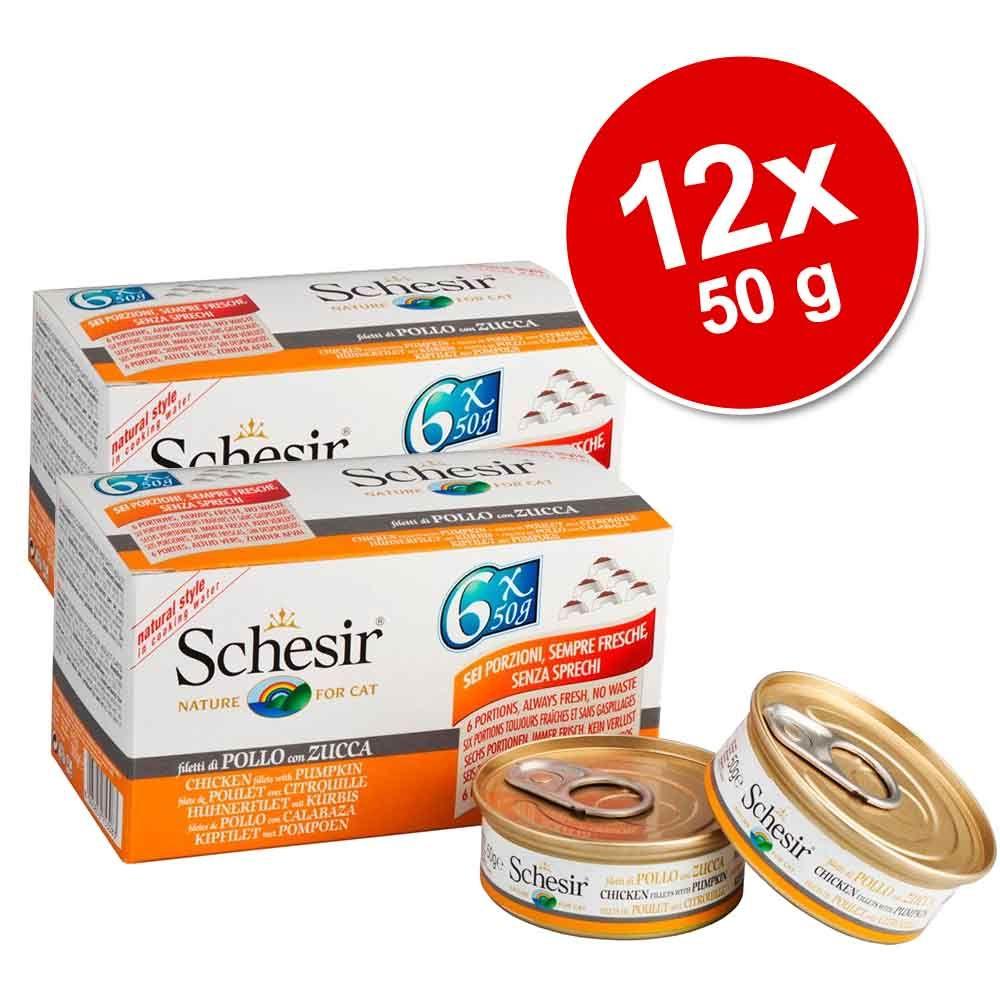 Korzystny pakiet Schesir Small Natural, 12 x 50 g - Tuńczyk z ryżem