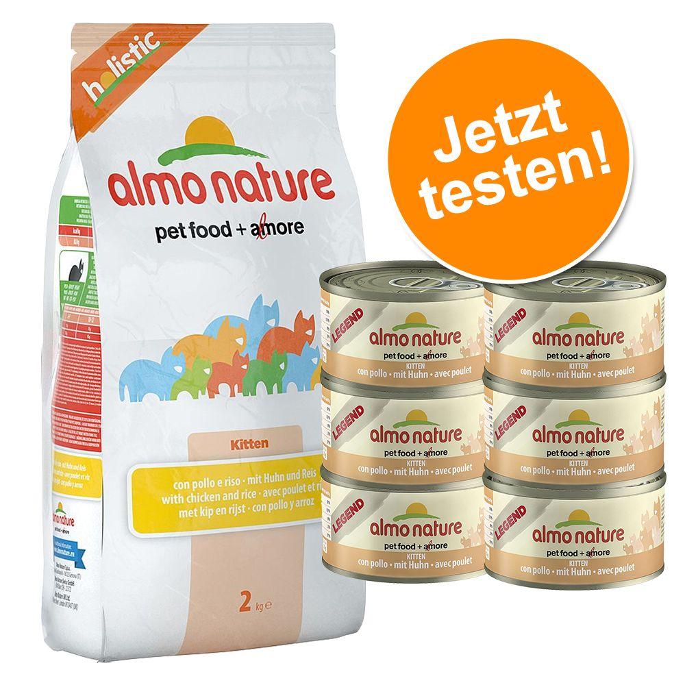 Gemischte Probierpakete Almo Nature - 2 kg Holistic Truthahn & Reis + 6 x 70 g Legend Hühnerbrust