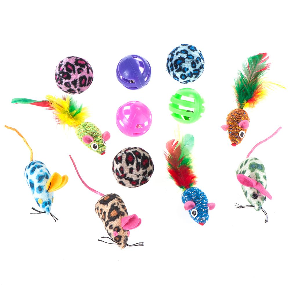Cat Toy Set with Balls and Mice - Set of 12 toys