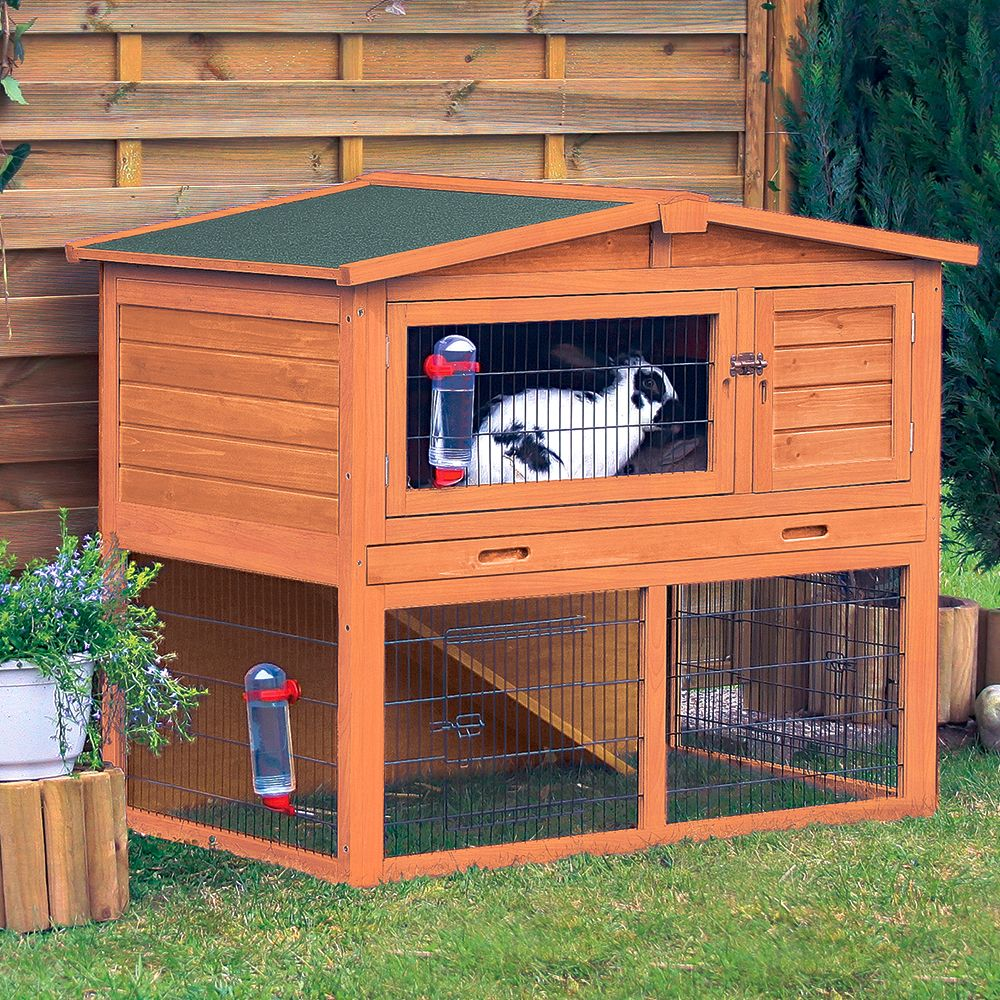Trixie Natura Small Animal Hutch with Enclosure 123x76x96cm