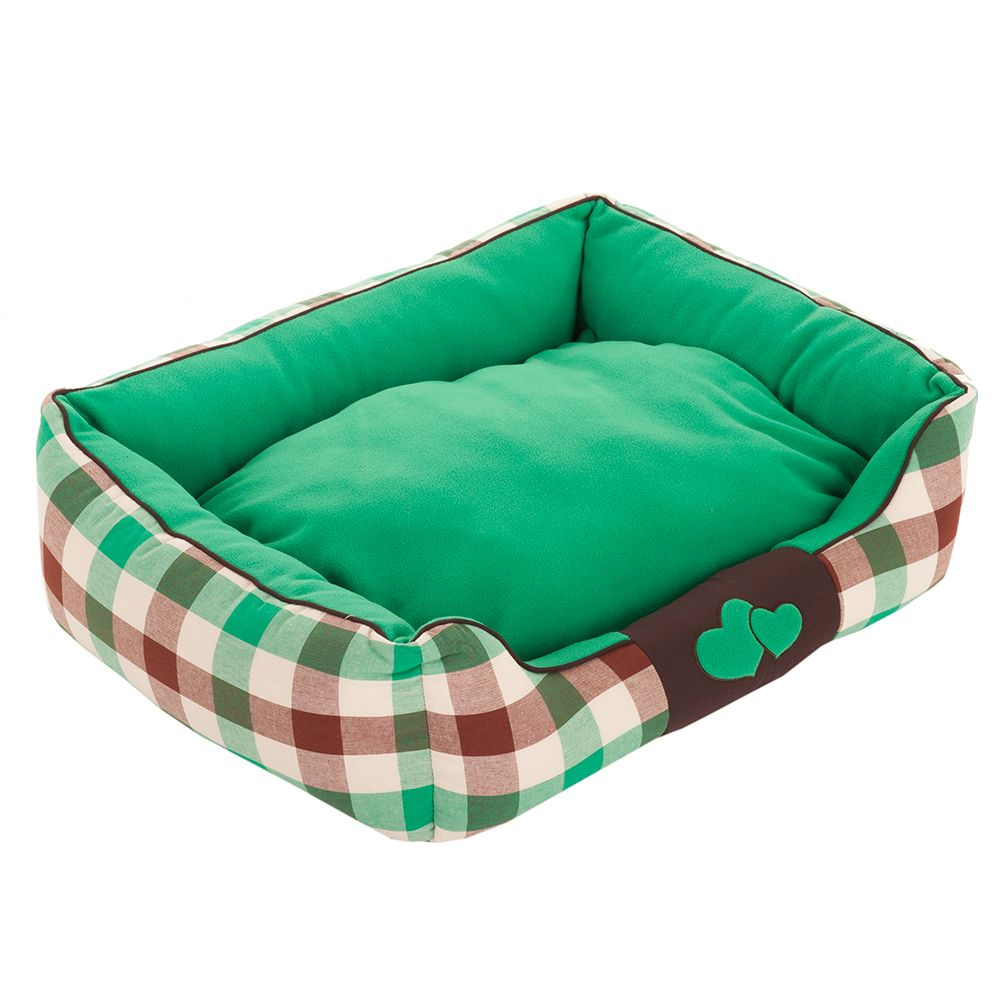 Sweet Dreams Dog Bed - Green / Brown / Beige - 90 x 60 x 23 cm (L x W x H)