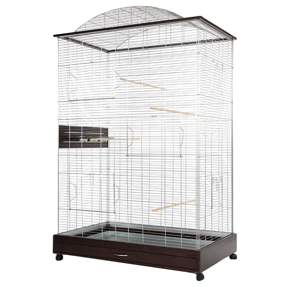 The Loretto XXL cage has a modern look birch wood elements and provides a spacious and functional aviary for larger parakeets, canaries and other exotic birds. Thi...