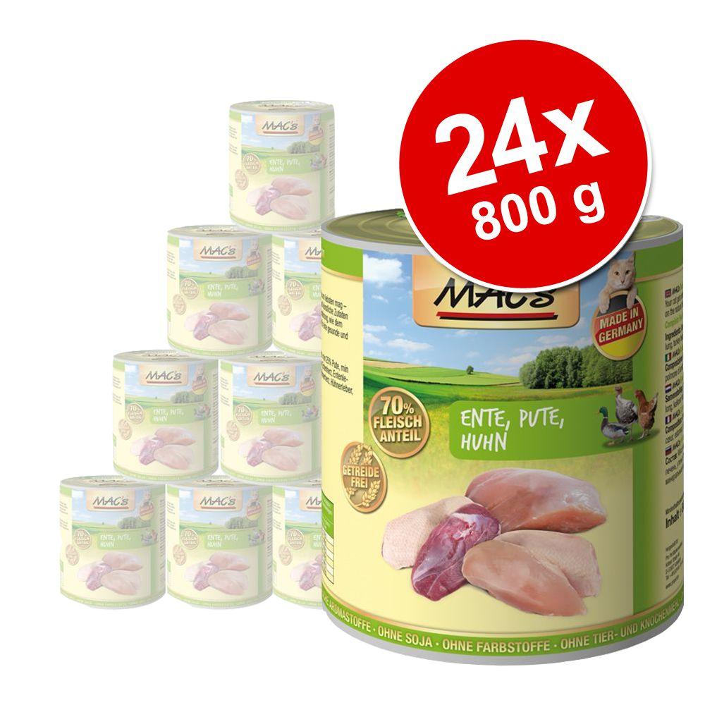 Ekonomipack: MAC's Cat våtfoder 24 x 800 g – Fjäderfä & lingon