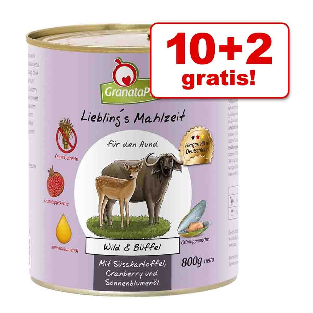 10 + 2 gratis! GranataPet Liebling's Mahlzeit, 12 x 800 g - Dziczyzna & bawół ze słodkimi kartoflami, żurawiną i olejem słonecznikowym