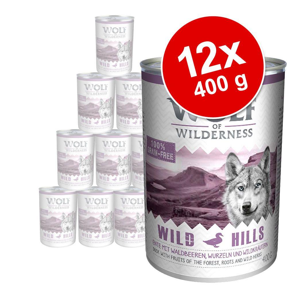 Lot Wolf of Wilderness 12 x 400 g pour chien - Wild Hills, canard