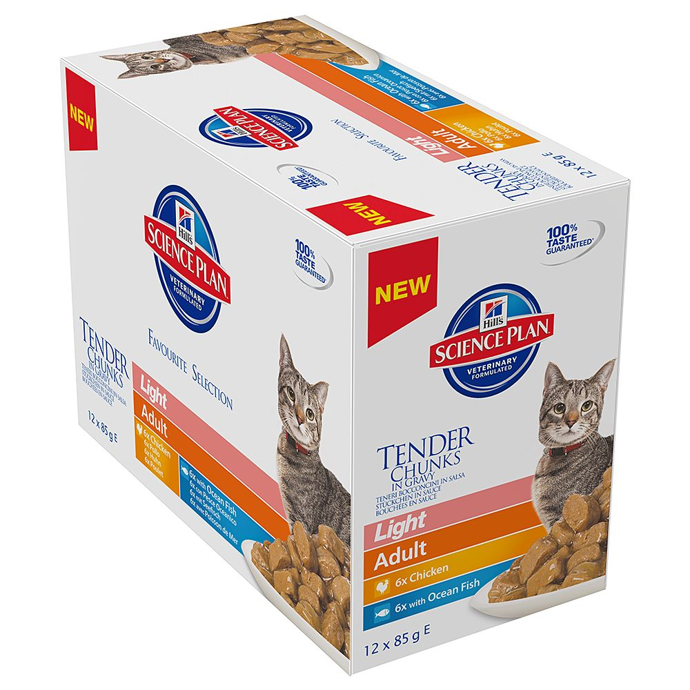 Hill's Science Plan Adult Cat Light Chunks in Gravy Pouches - Saver Pack: 24 x 85g