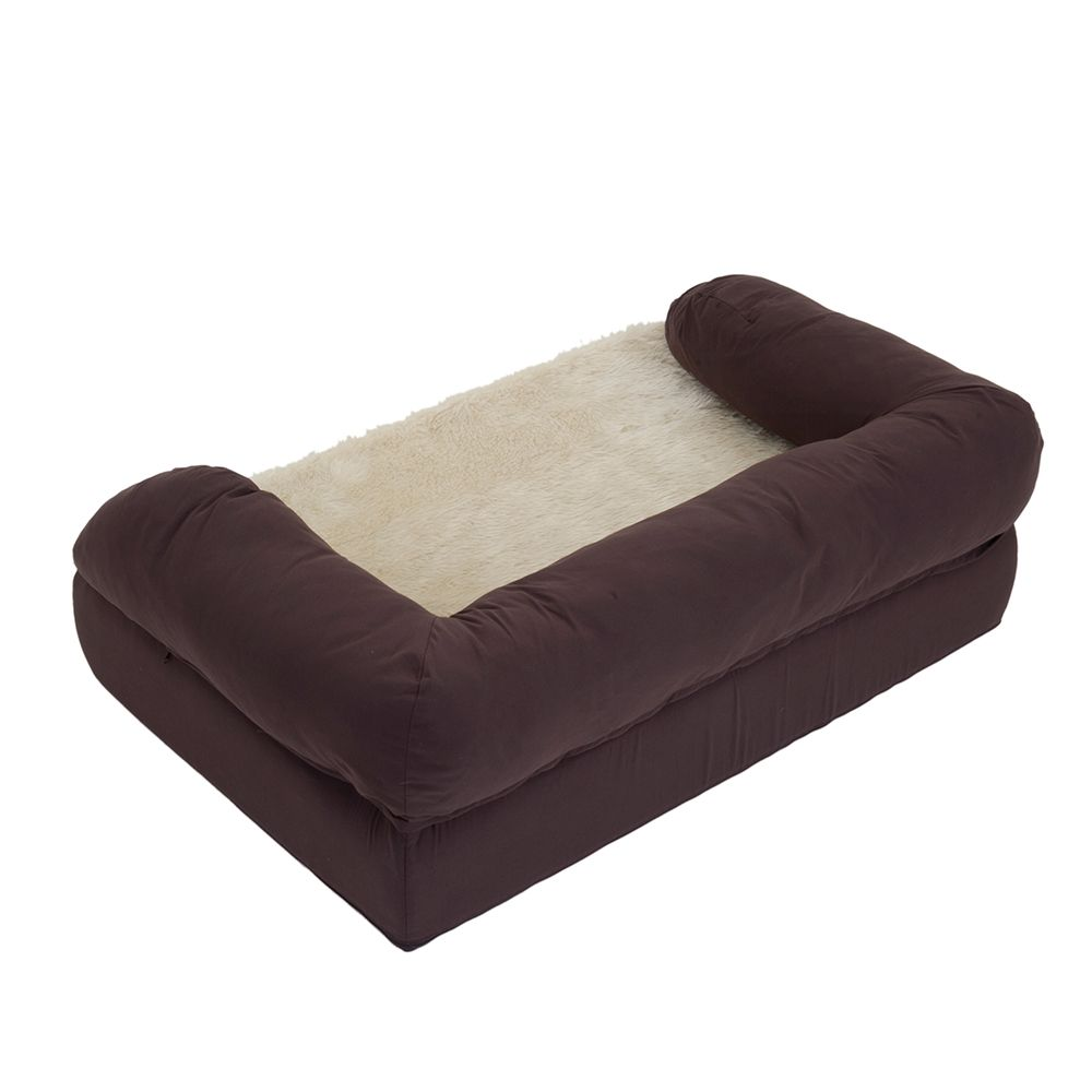 Orthopaedic Dog Bed - Brown / Beige - 115 x 65 x 32 cm (L x W x H)