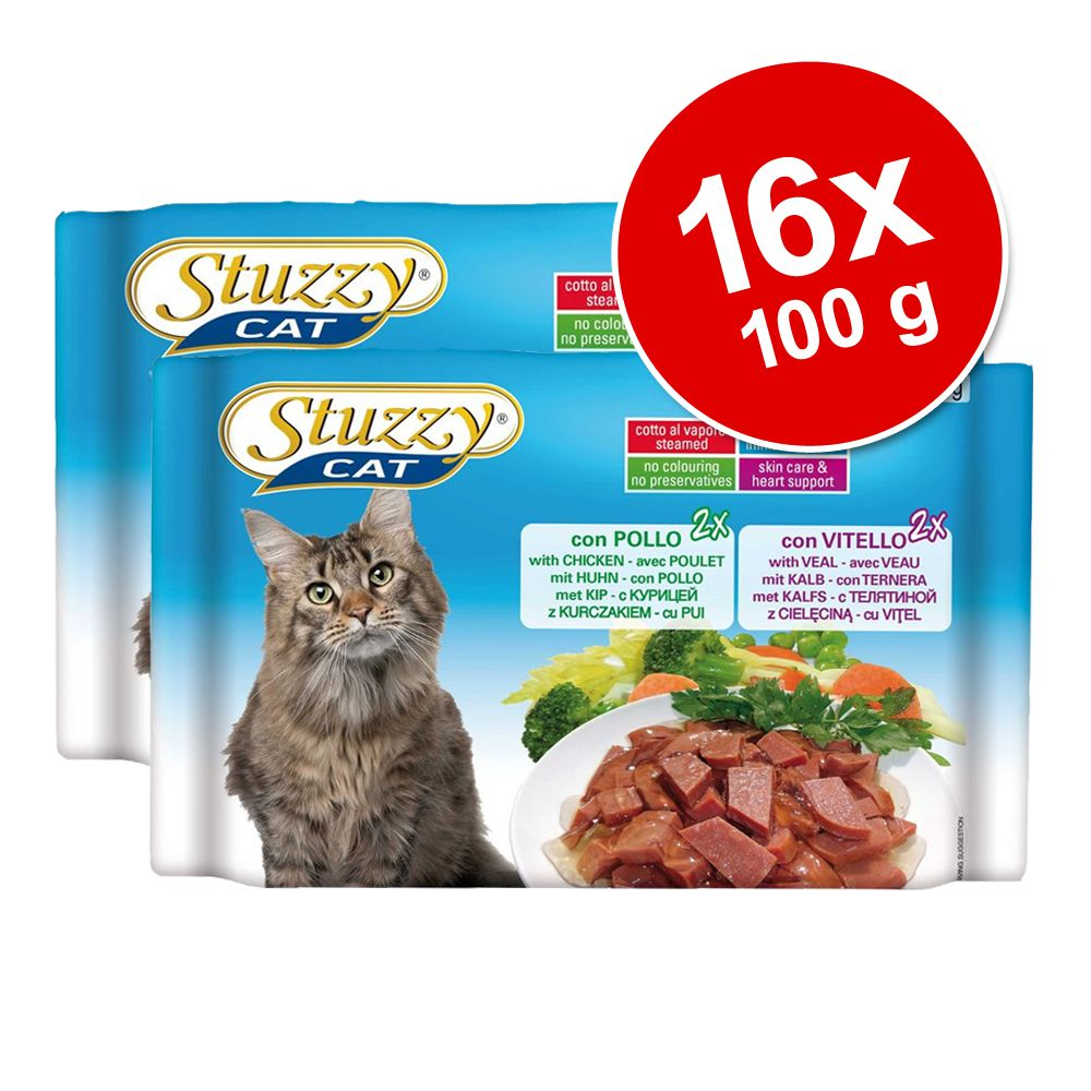 Ekonomipack: 16 x 100 g Stuzzy Cat i portionspåse - Skinka + Nötkött + Kyckling + Kalv