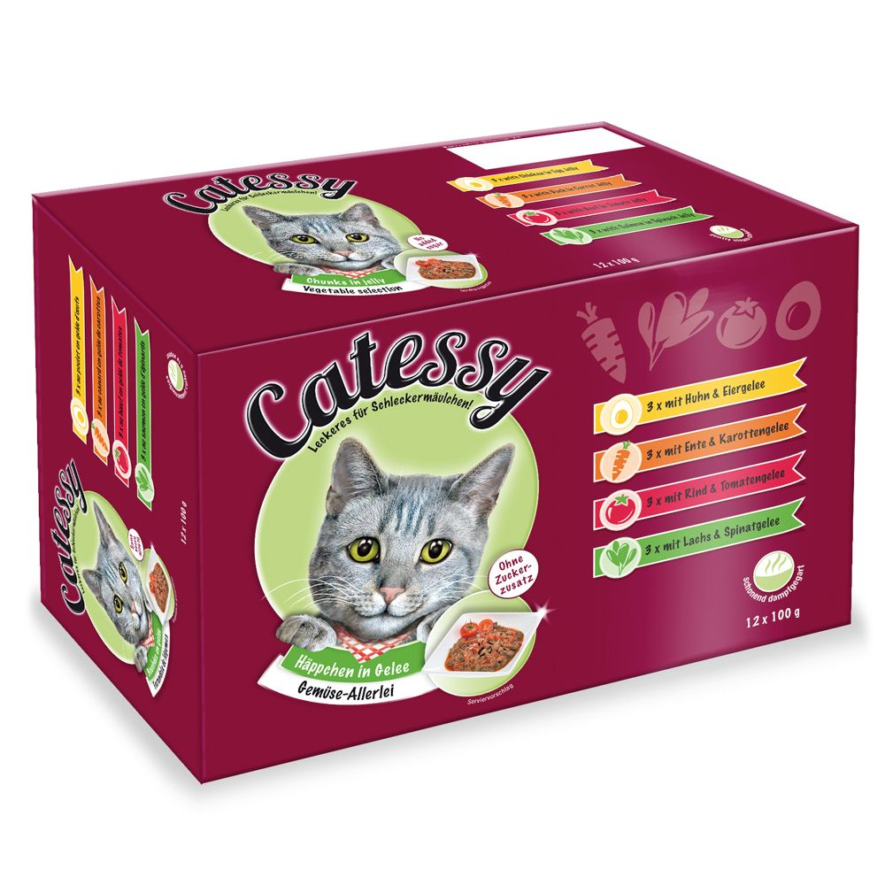 Catessy Chunks in Vegetable or Egg Jelly - Mixed Pack - Saver Pack: 48 x 100g