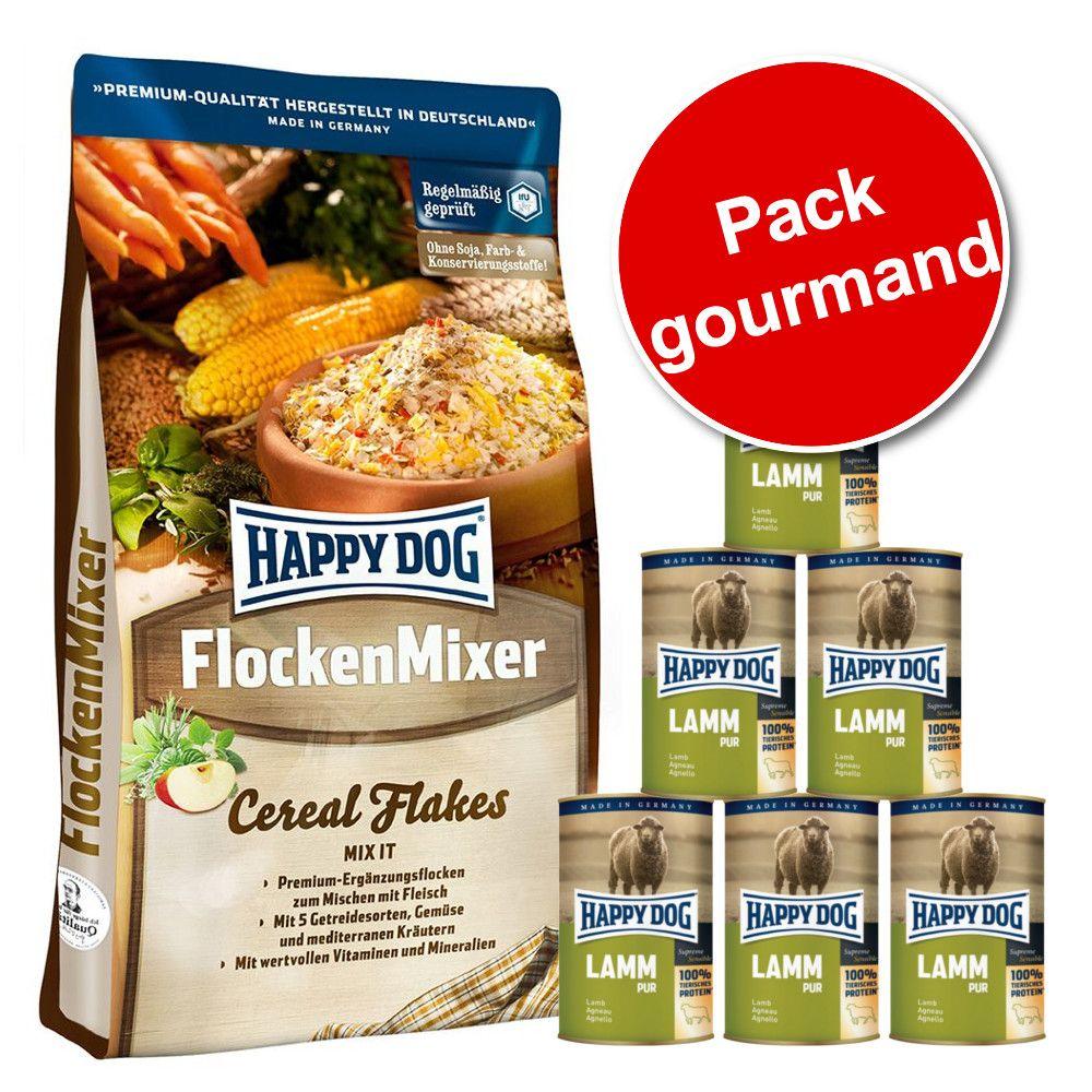 Pack gourmand 10 kg Happy Dog FlockenMixer + 6 boîtes de 400 g Happy Dog Pur - pur gibier