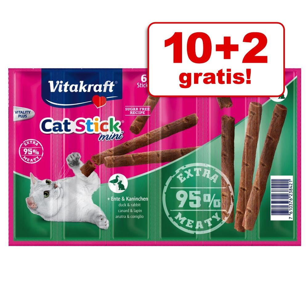 10 + 2 gratis! Vitakraft Cat Stick Mini, 12 x 6 g - Łosoś i pstrąg, 12 x 6 g