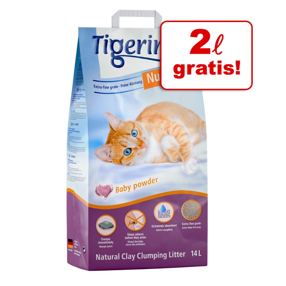 12 + 2 l gratis! Tigerino Nuggies zbrylający żwirek dla kota, 14 l - Fresh, drobnoziarnisty