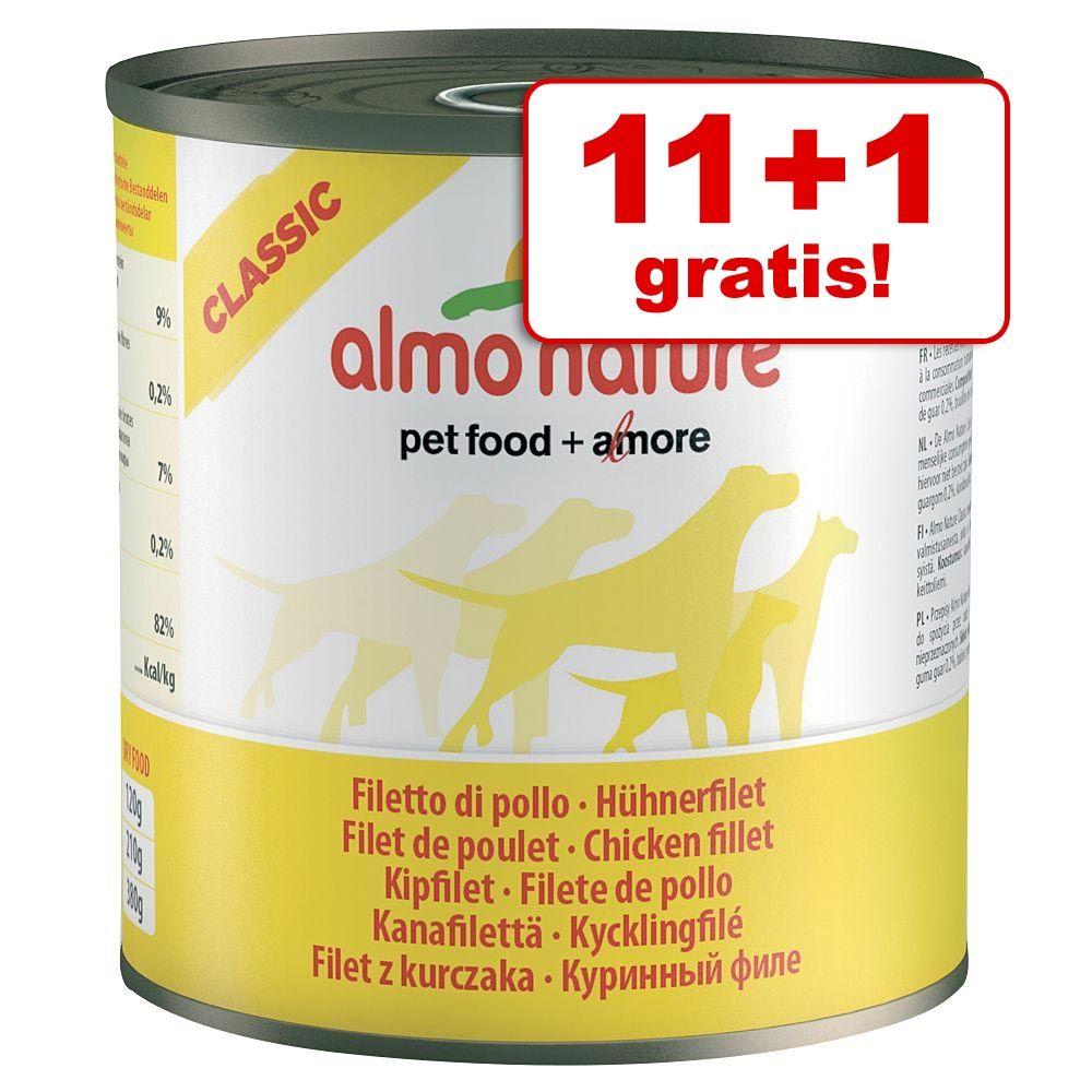 11 + 1 gratis! Almo Nature Classic, 12 x 280 g / 290 g - Filet z kurczaka, 280 g