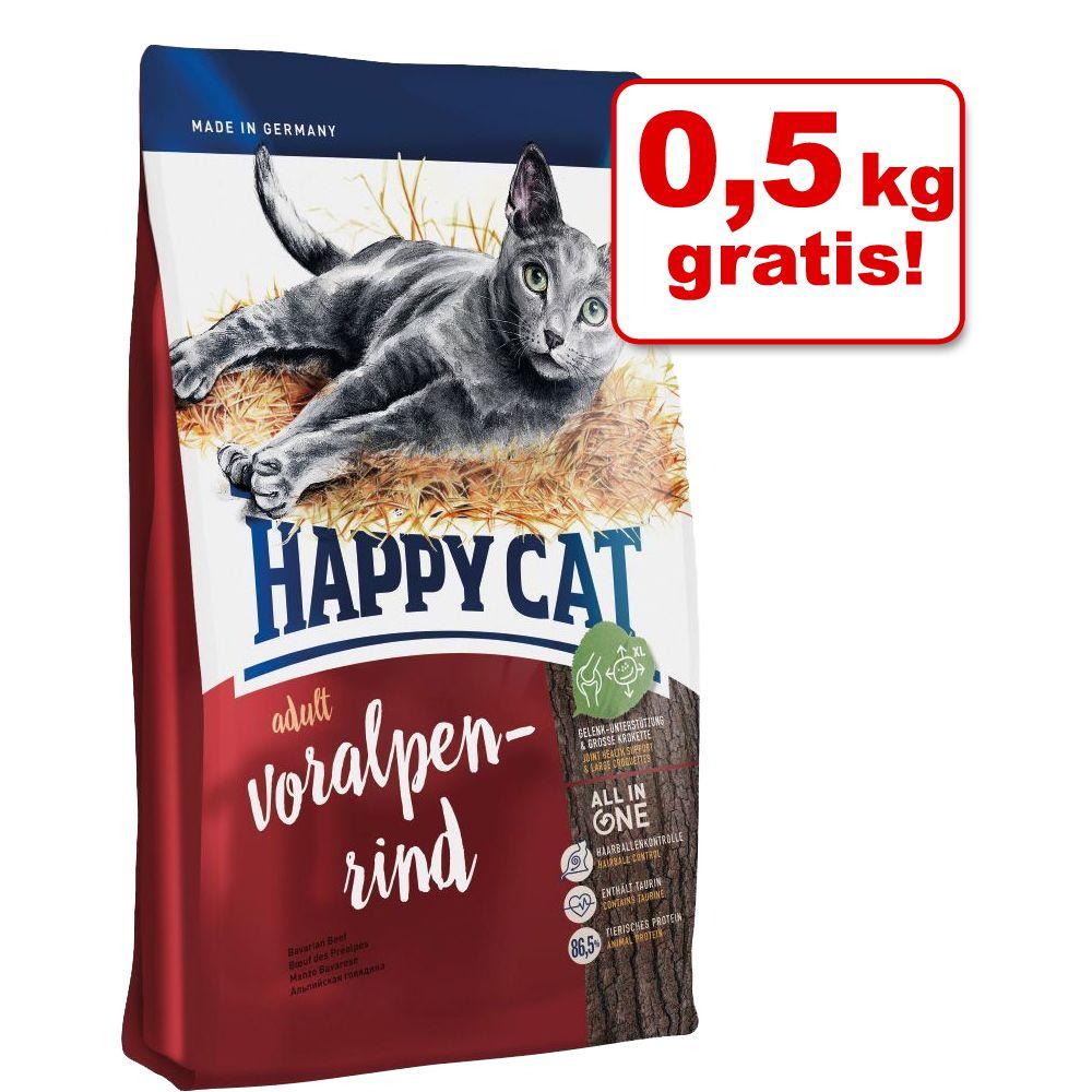 3,5 +0,5 kg gratis! Happy Cat, 4 kg - Adult, z wołowiną alpejską