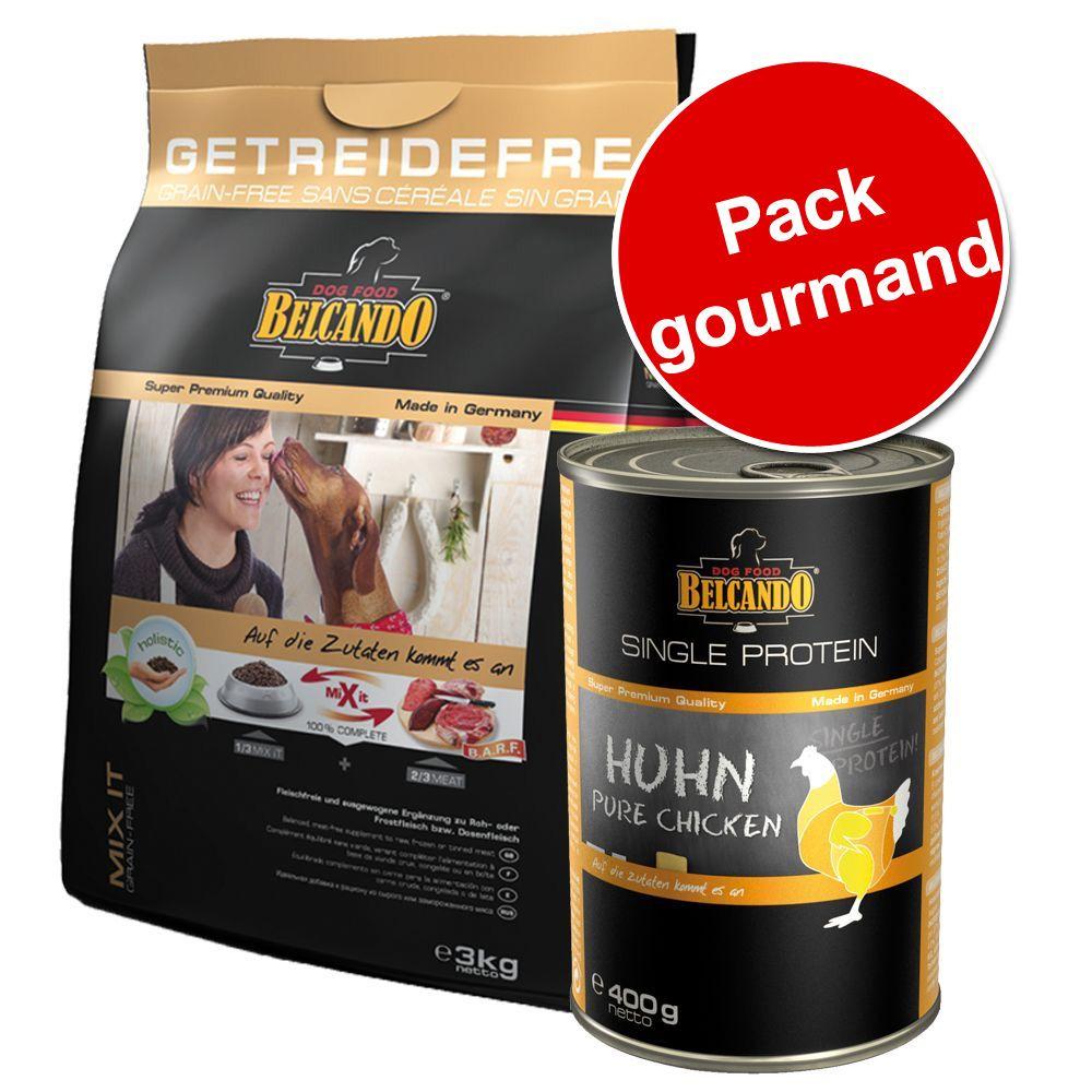 Lot Belcando 3kg Mix It kangourou Grain-Free + 6x400g Belcando Single Protein - Croquettes