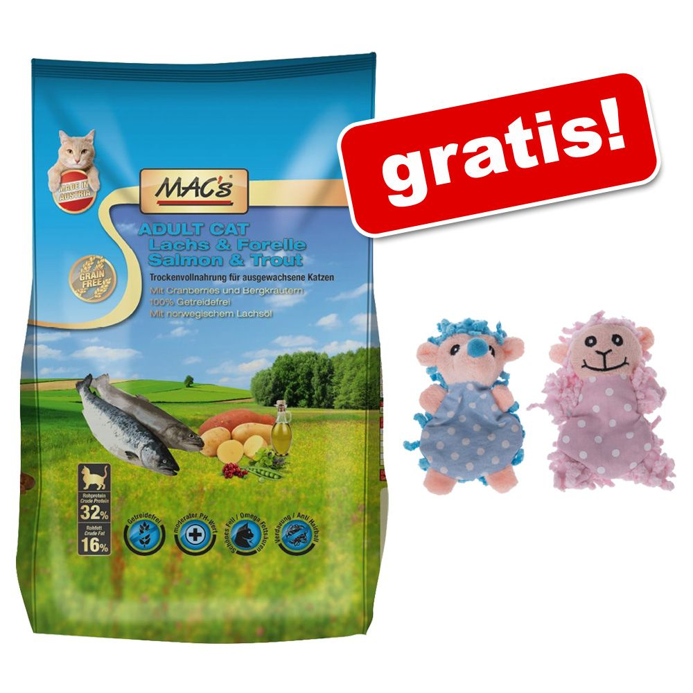 1,5 MAC's Cat + Zabawki Moppi z kocimiętką, 2 szt., gratis! - Adult, monoprotein, królik