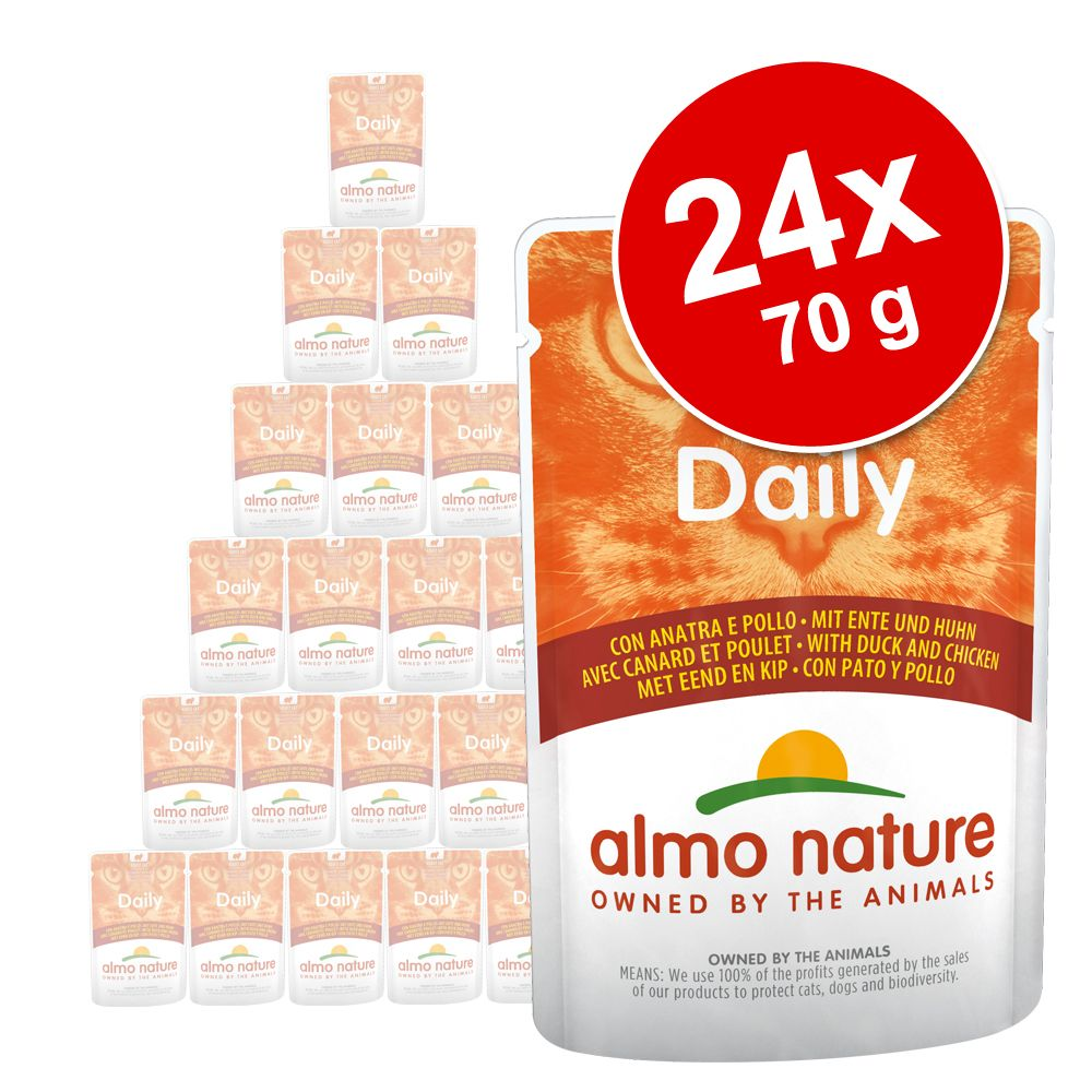 Ekonomipack: Almo Nature Daily Menu Pouch 24 x 70 g - Tonfisk och lax
