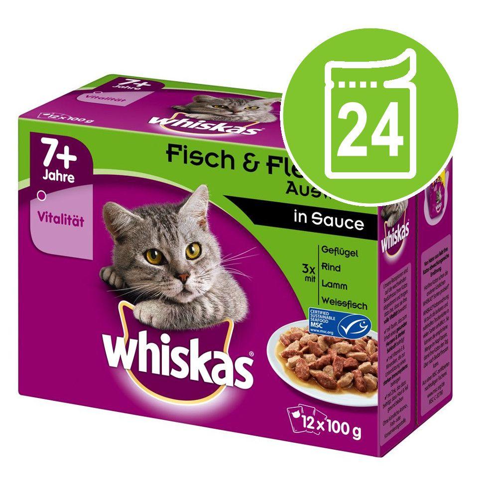 Ekonomipack: Whiskas Senior 7+ portionspåse 24 x 85 / 100 g - 7+ Blandat urval i sås