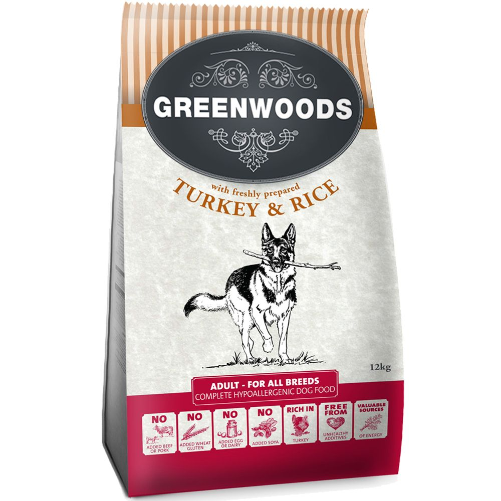 Greenwoods Dry Dog Food Economy Packs 2 x 12kg - Senior – Turkey & Rice