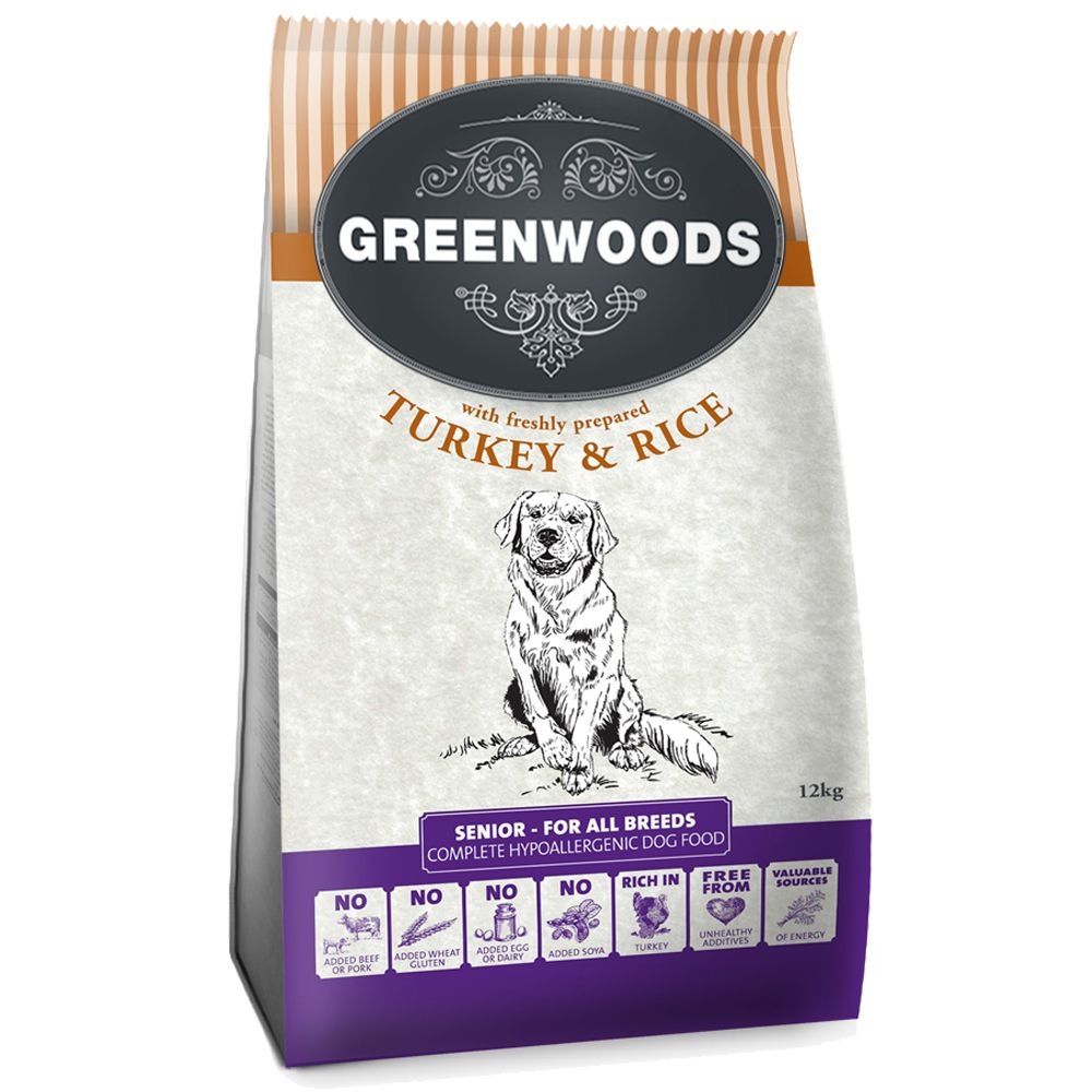 Greenwoods Senior complete dry food provides your elderly dog with the very best nutrition possible. This delicious kibble is made with a high percentage of meat a...