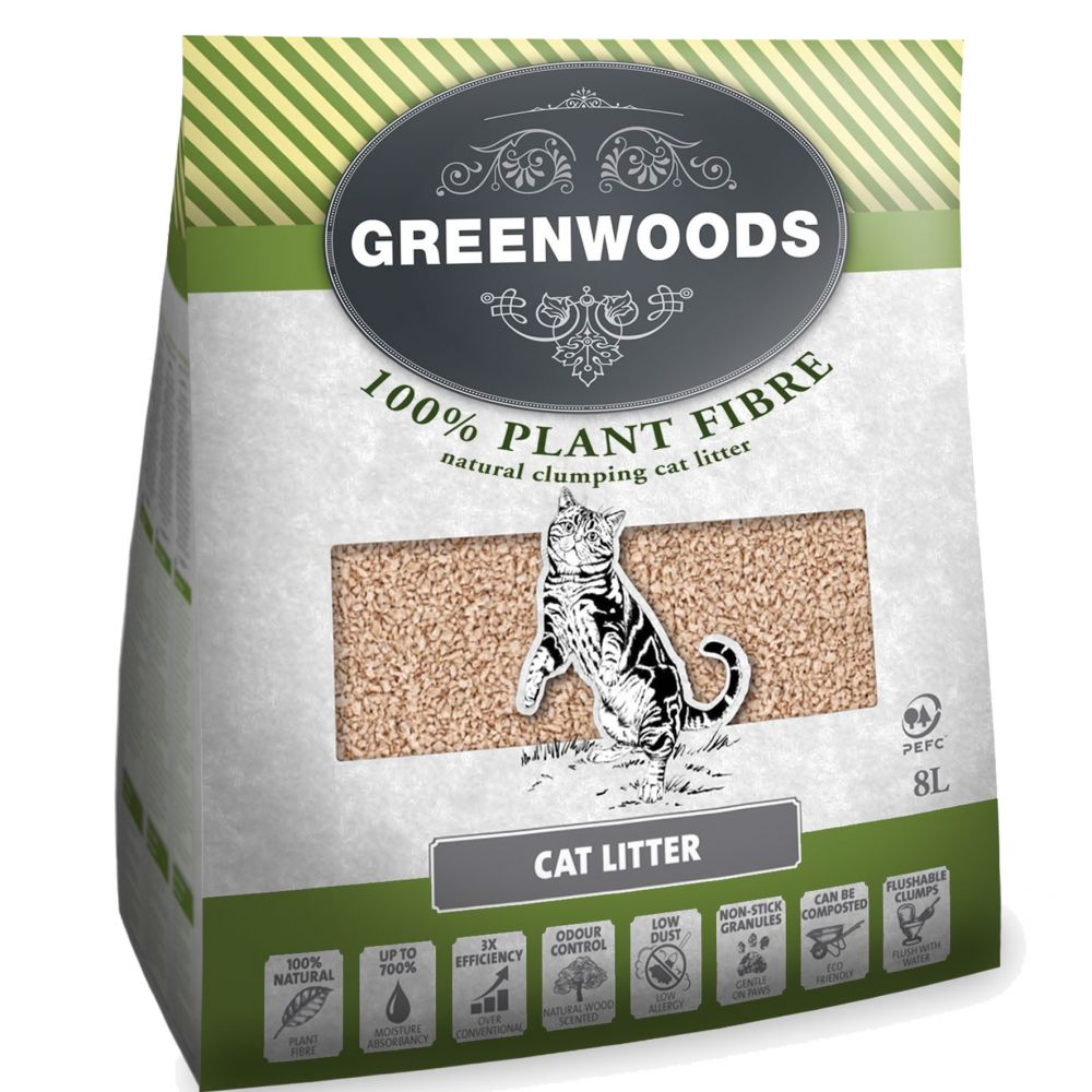 Greenwoods Cat Litter Starter Set - Saver Bundle!* - Cat Litter Set (8l litter, tray & liners)