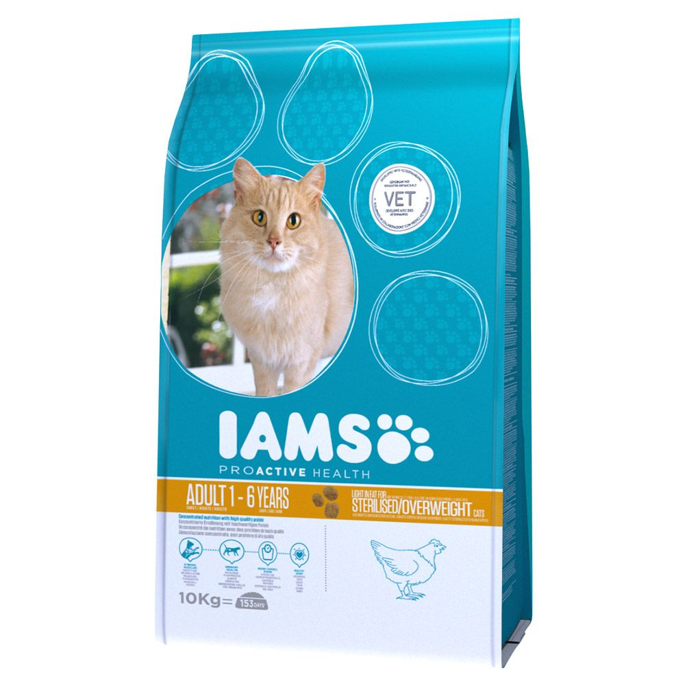 Iams Proactive Health Adult Light in Fat Chicken Dry Cat Food - 10kg
