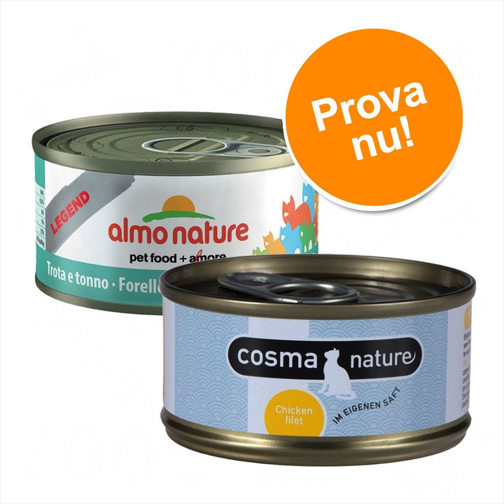 Superblandpack: 24 x 70 g Almo Nature Legend och 6 x 70 g Cosma Nature! - Tonfisk från Atlanten + Cosma Nature provpack