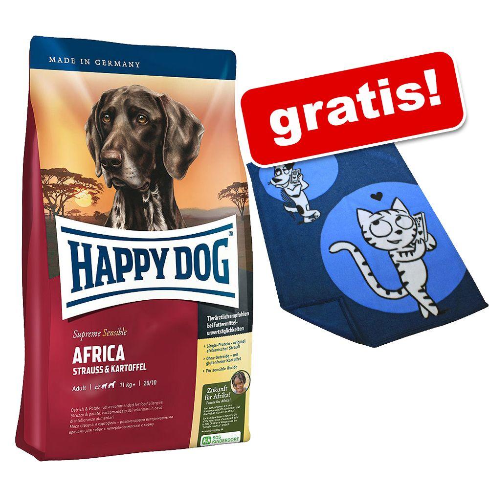 4 kg Happy Dog Supreme Sensible Africa Hundetrockenfutter + Kuscheldecke gratis