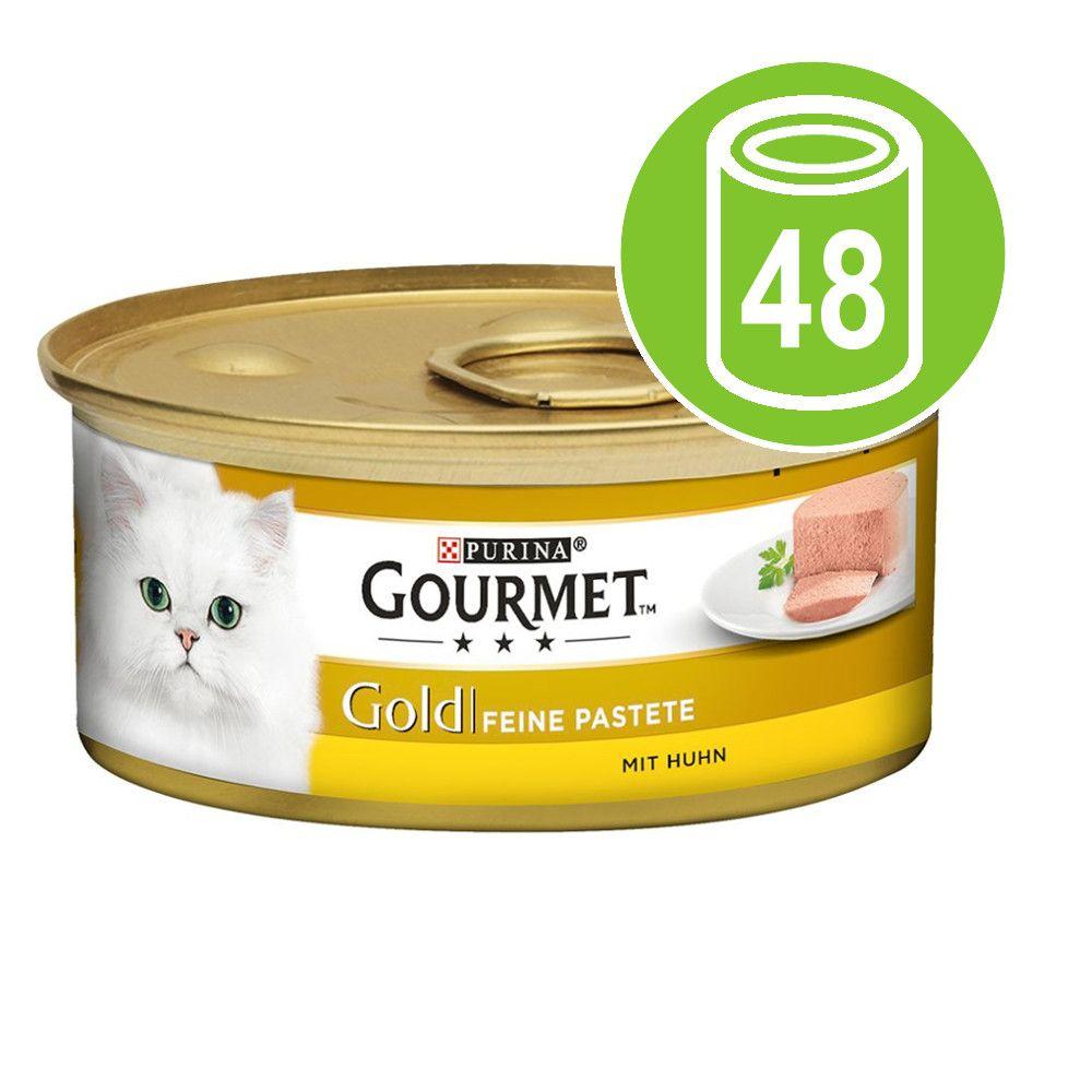 Blandpack Gourmet Gold Fine Paté 48 x 85 g - Blandpack: Sej, Öring, Nötkött, Kyckling