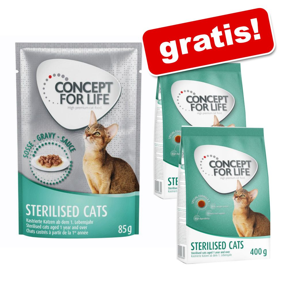 24 x 85 g Concept for Life karma mokra + 800 g Concept for Life gratis! - Sterilised Cats w galarecie
