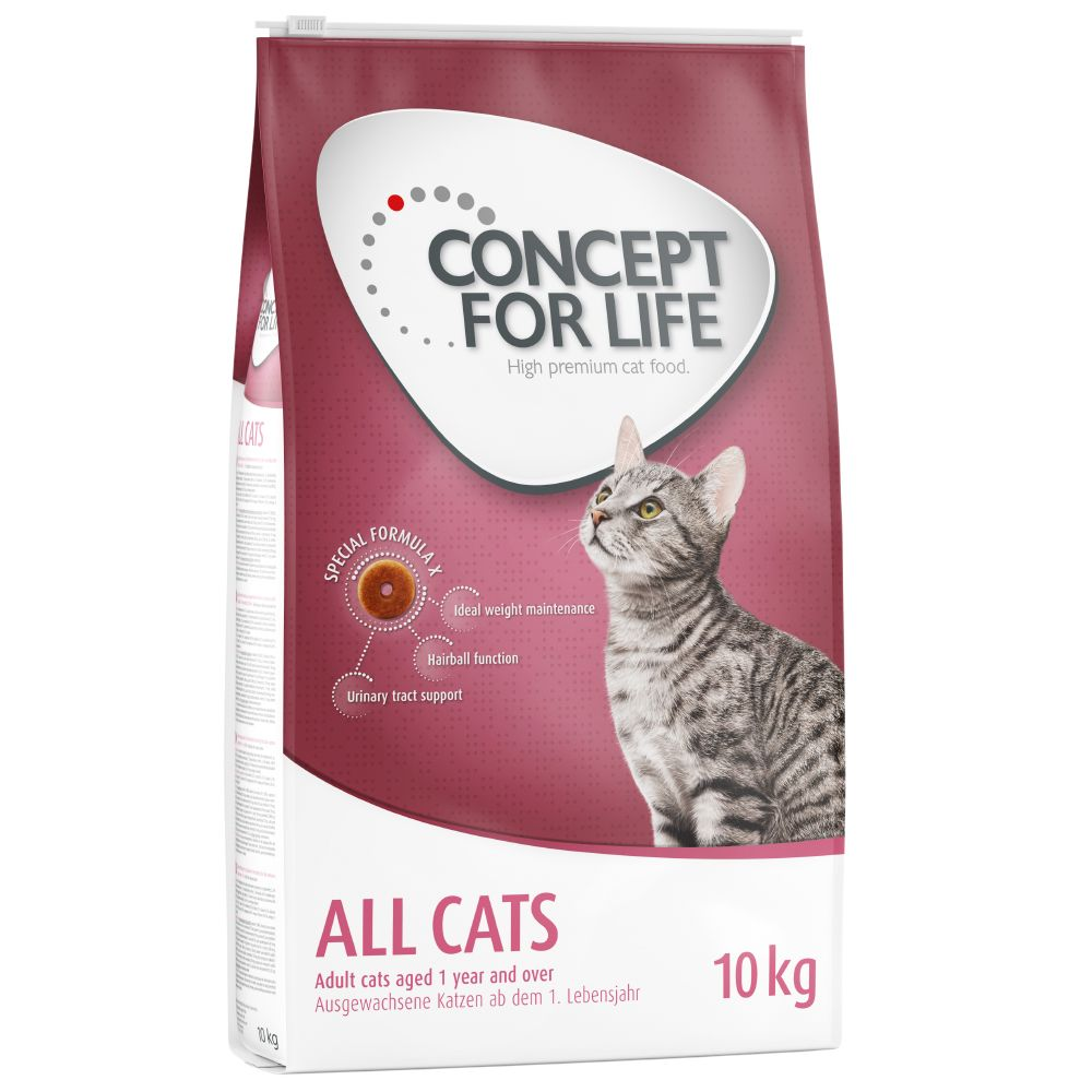 9kg/10kg Concept for Life Dry Cat Food + 12 x 85g Pouches Free