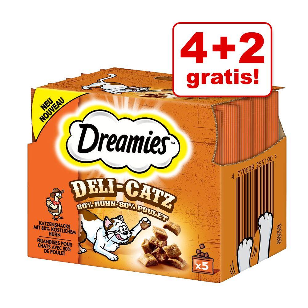 4 + 2 gratis! 6 x 25 g Dreamies Deli-Catz Snack...