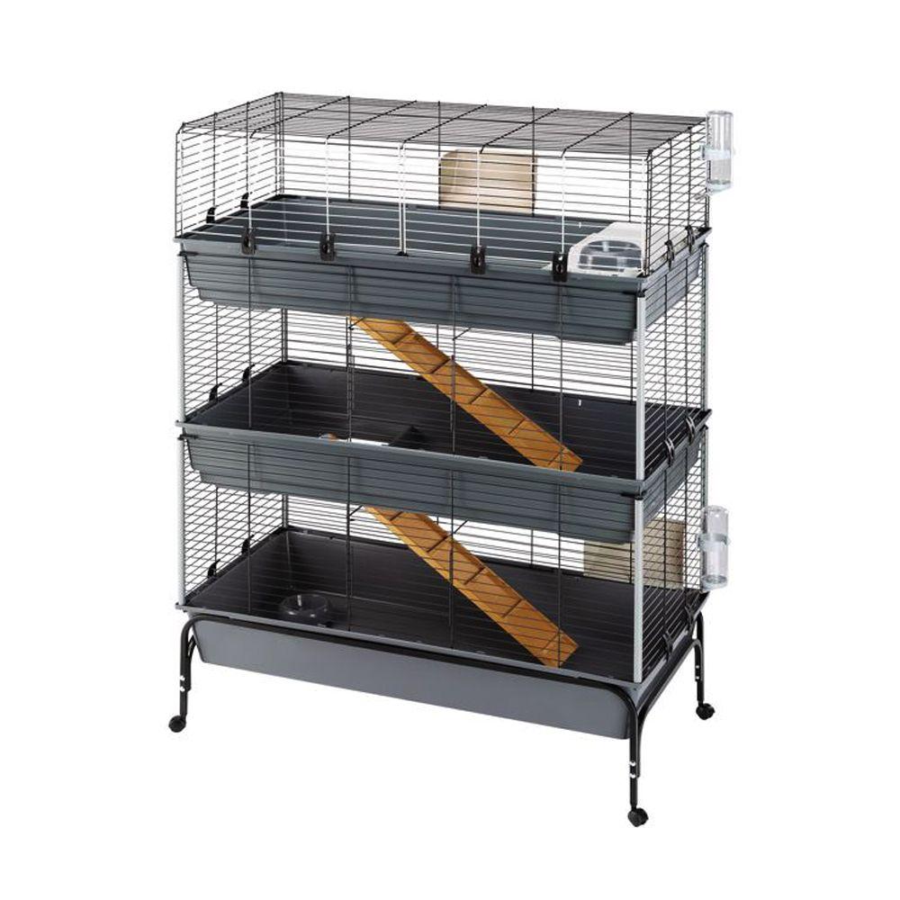 Vital 3-Tier Small Pet Cage 120 - Black: 120 x 60 x 167 cm (L x W x H)
