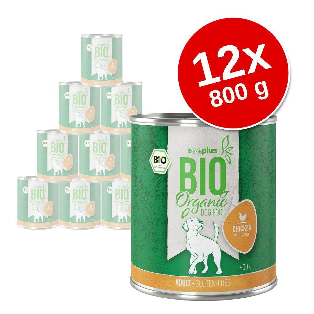 Ekonomipack: zooplus Bio 12 x 800 g - Eko-kyckling med eko-morötter