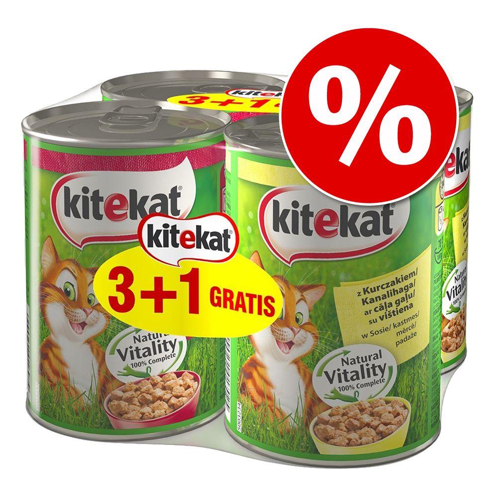 4 x 400 g Kitekat mokra karma dla kota w super cenie! - 2 x kurczak, 2 x wołowina